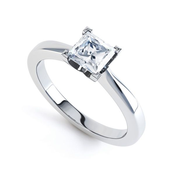 Modern 4 Claw Princess Solitaire Diamond Ring Main Image