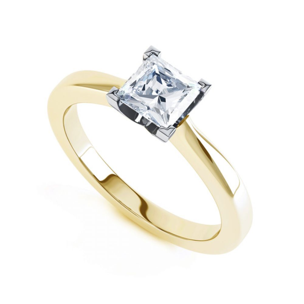 Modern 4 Claw Princess Solitaire Diamond Ring In Yellow Gold