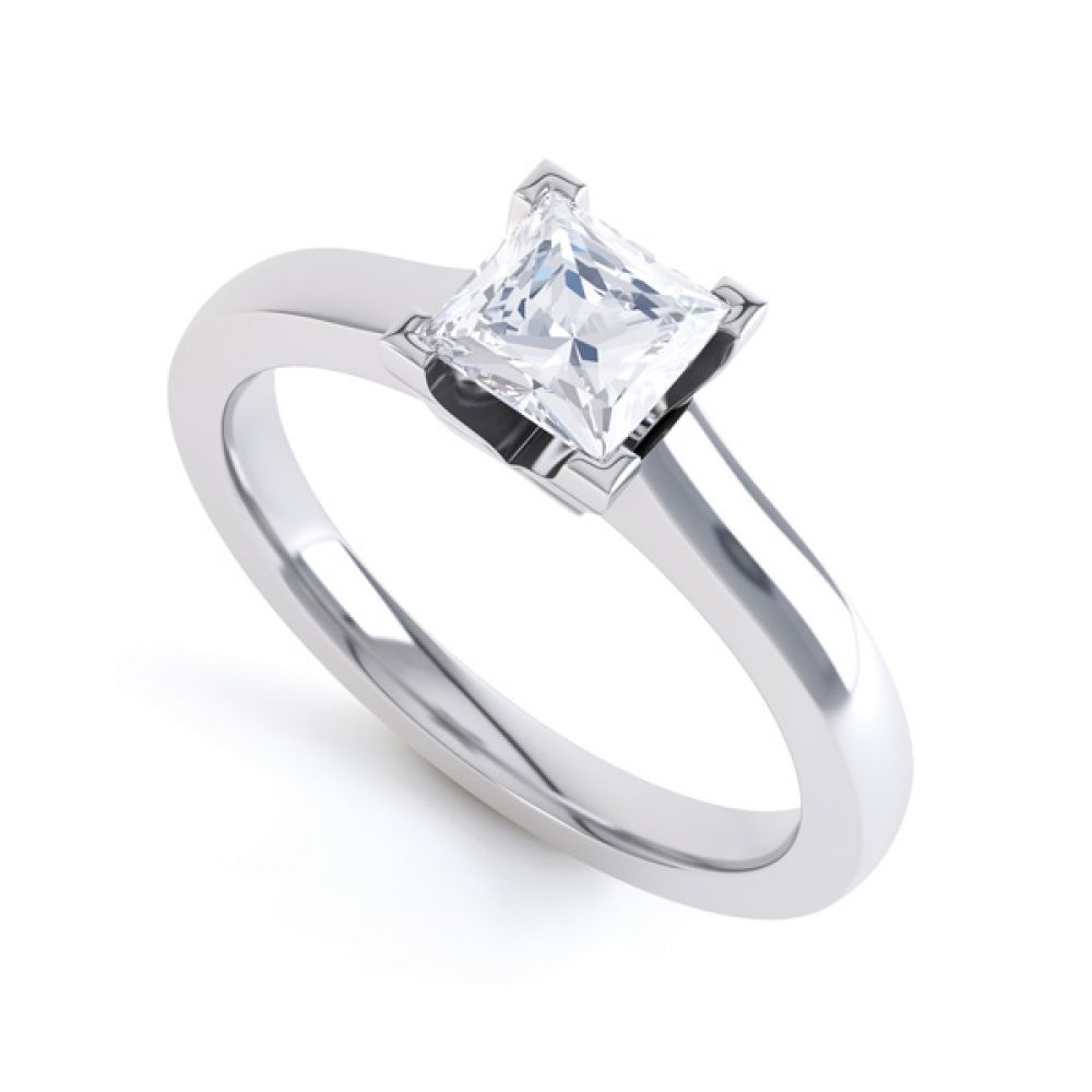 Princess Solitaire Engagement Ring with Low Setting