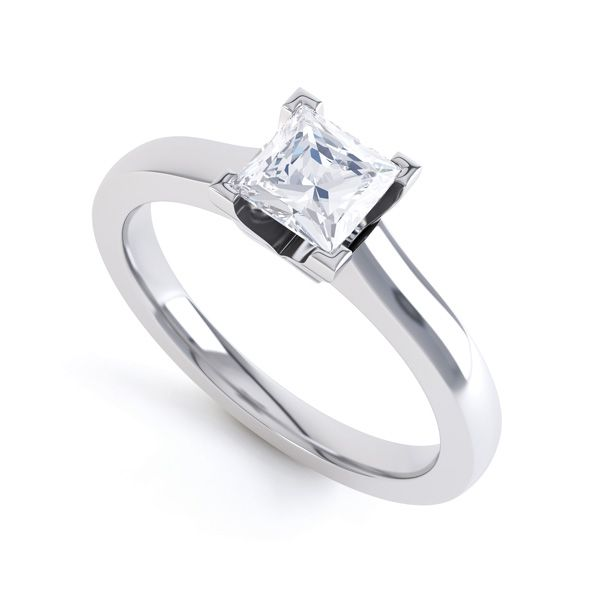 Princess Solitaire Engagement Ring Squared Setting Main Image