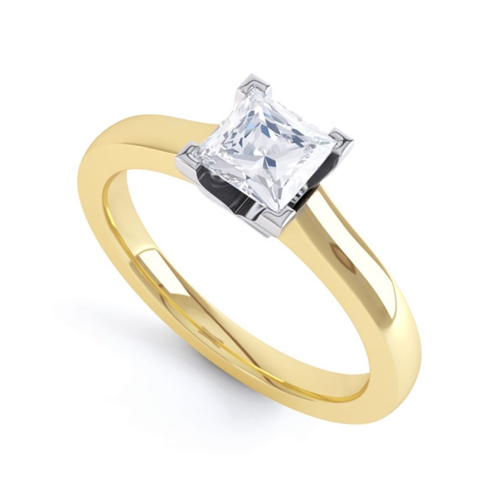 Princess Solitaire Engagement Ring with Low Setting In Yellow Gold