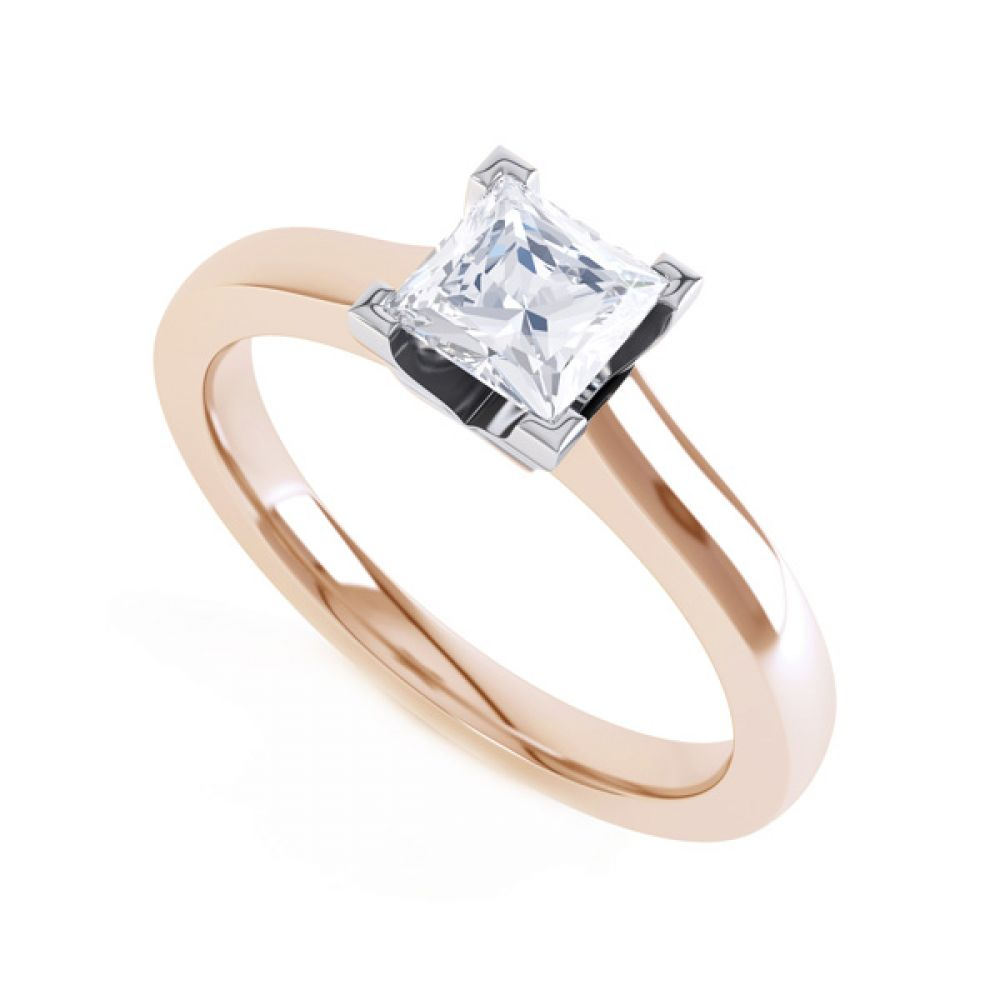 Princess Solitaire Engagement Ring with Low Setting In Rose Gold