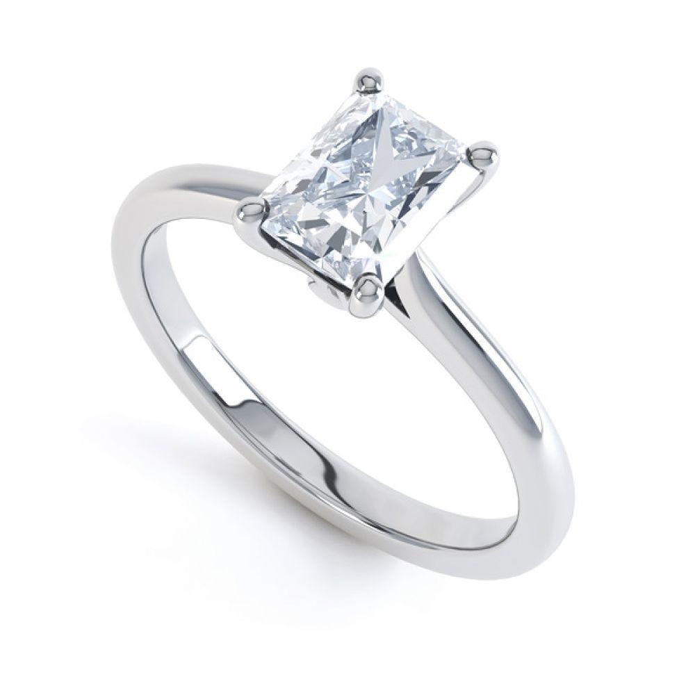 Classic 4 Claw Emerald Cut Diamond Solitaire