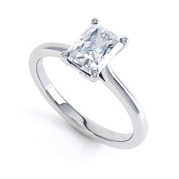 Classic 4 Claw Emerald Cut Diamond Solitaire Main Image
