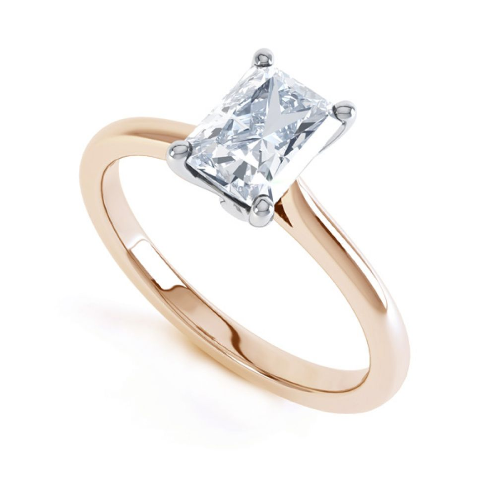 Classic 4 Claw Emerald Cut Diamond Solitaire In Rose Gold