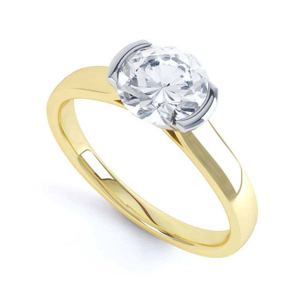 Round Diamond Solitaire Ring Tension Set Side View