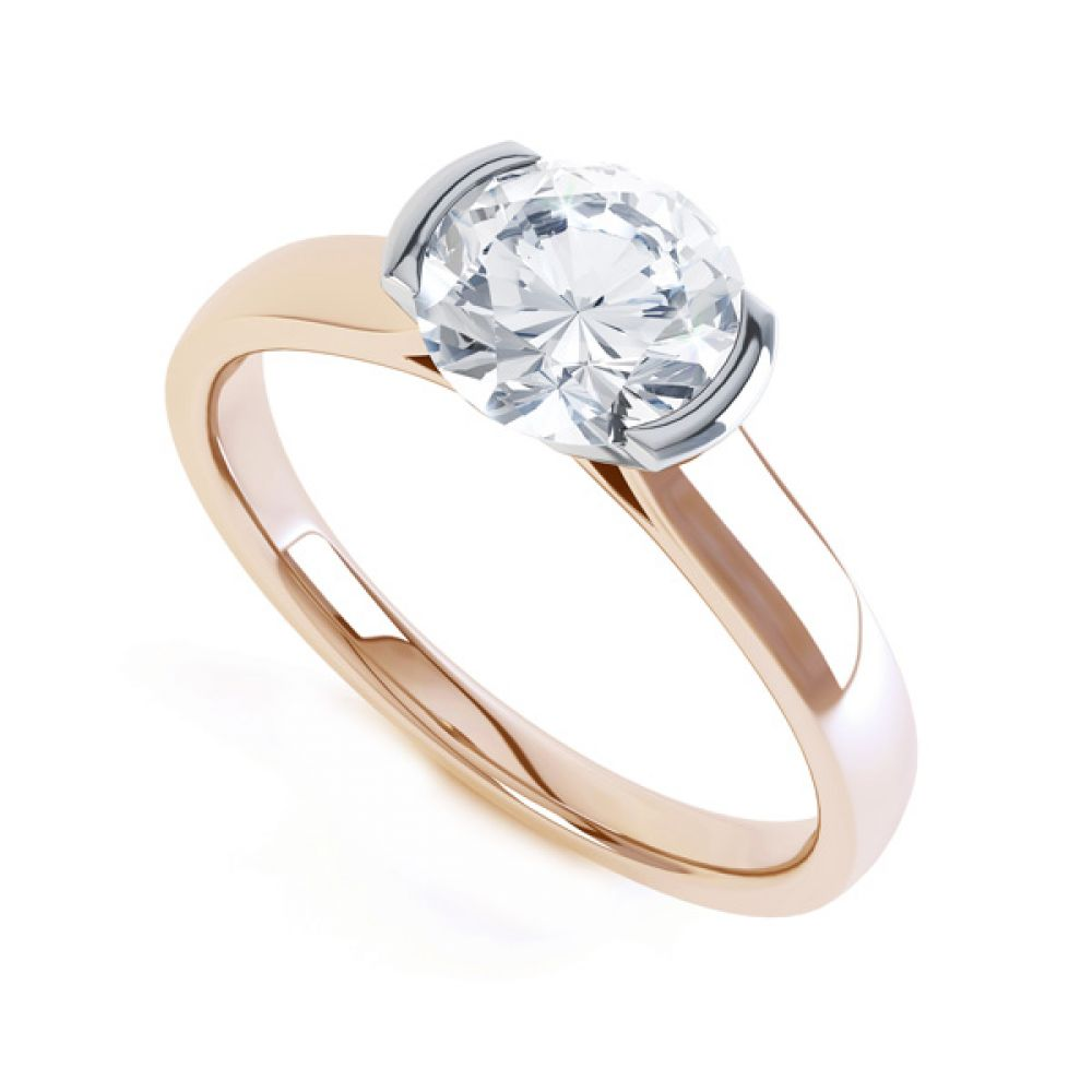 Round Diamond Solitaire Ring Tension Set In Yellow Gold