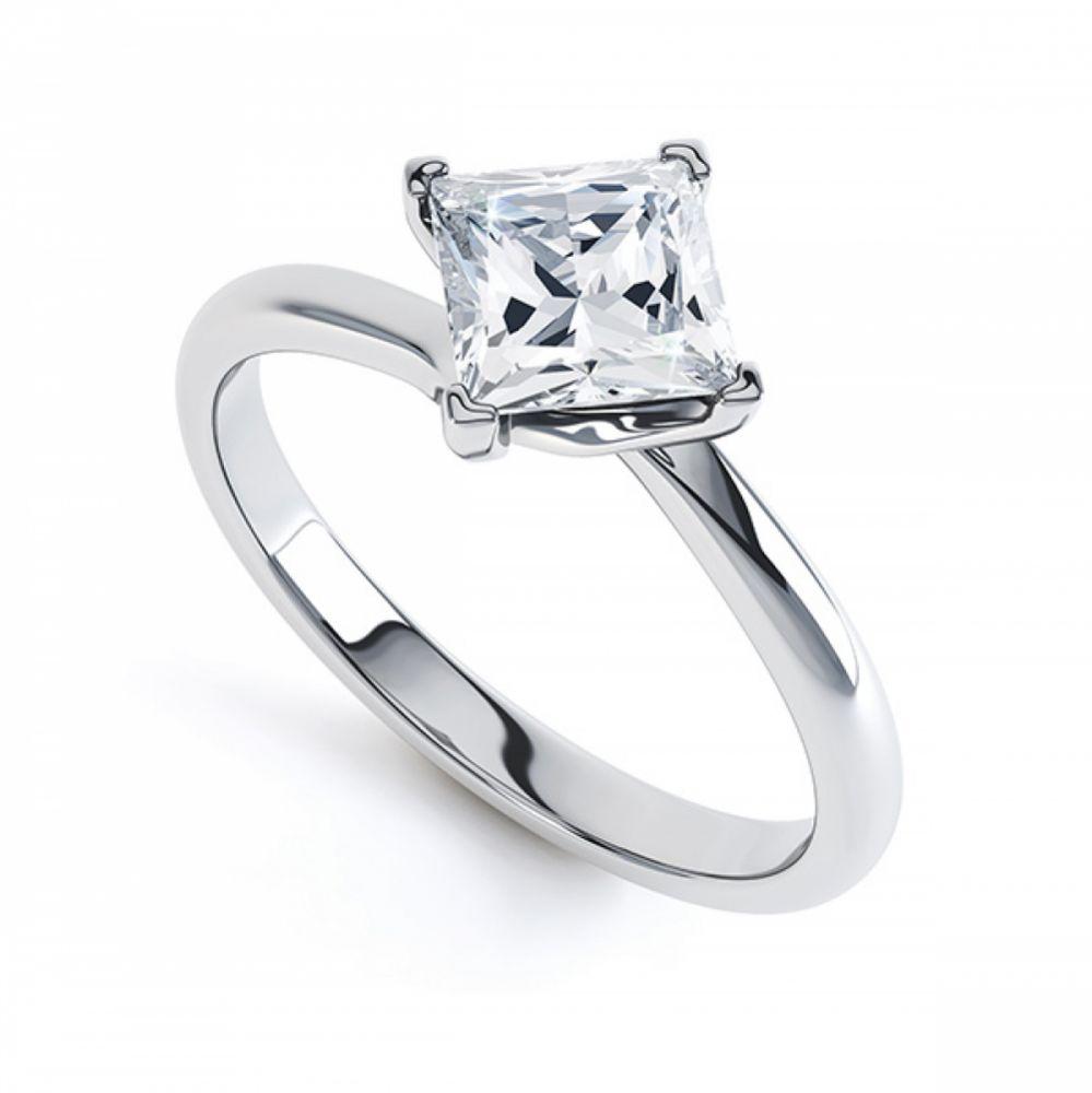 4 Claw Princess Diamond Twist Engagement Ring