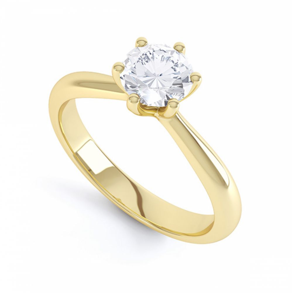 Modern destiny design 6 claw solitaire engagement ring perspective yellow gold