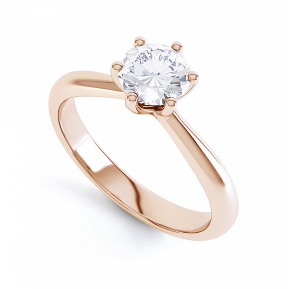 Modern destiny design 6 claw solitaire engagement ring perspective rose gold