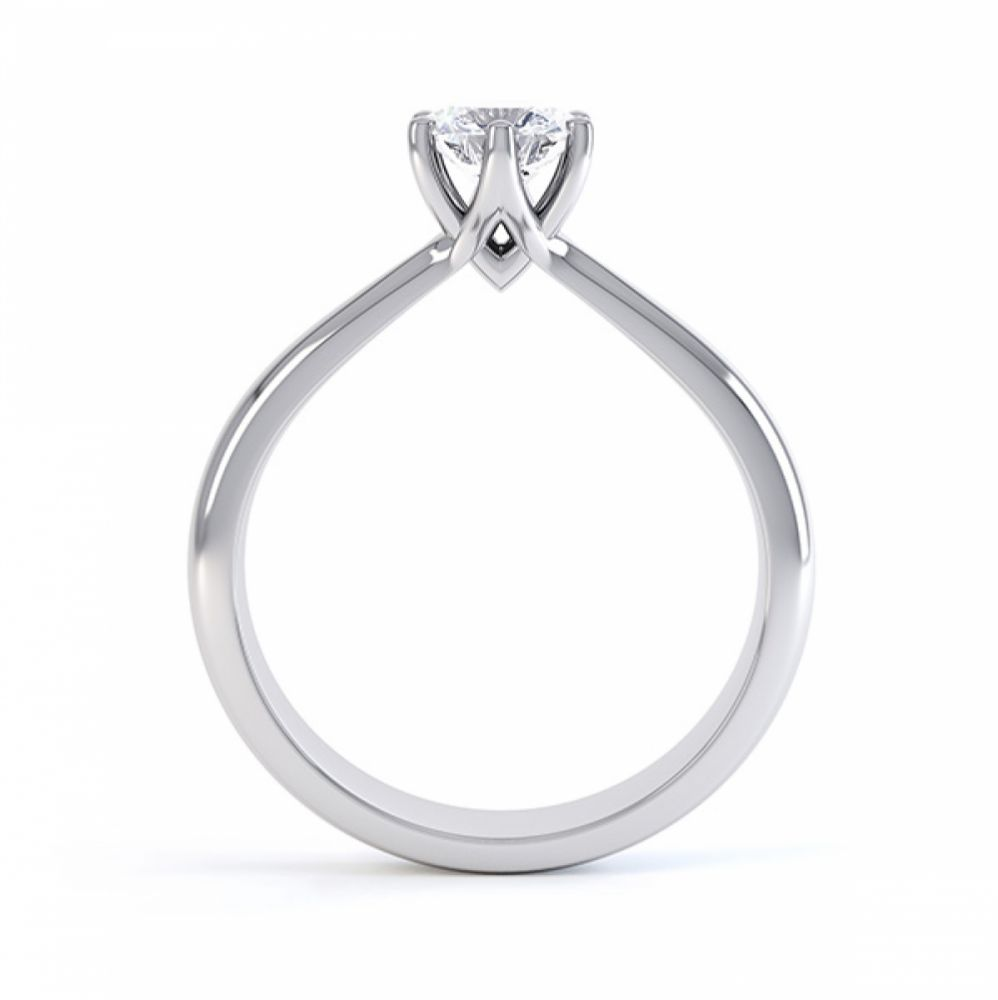 Modern destiny design 6 claw solitaire engagement ring side view platinum