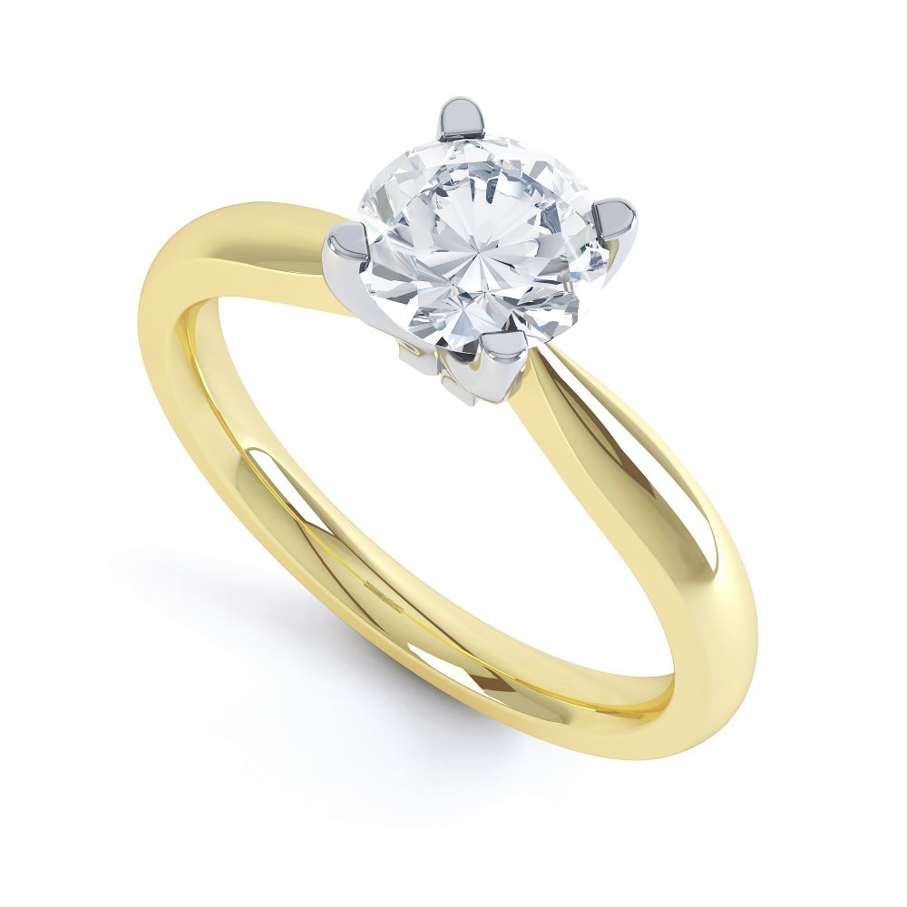 Solstice Style Four Claw Solitaire Engagement Ring In Yellow Gold
