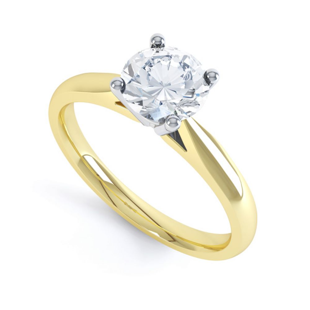 Harmony modern four claw diamond solitaire engagement ring front view in yellow gold