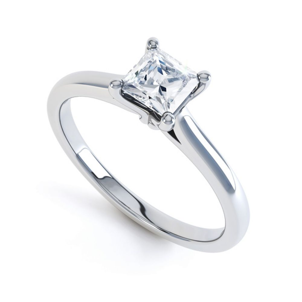 Slim Shoulder 4 Claw Princess Diamond Engagement Ring