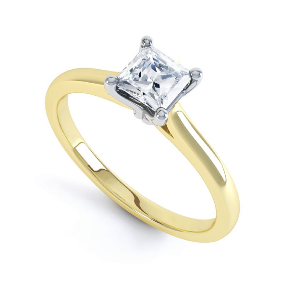 Slim Shoulder 4 Claw Princess Diamond Engagement Ring In Yellow Gold