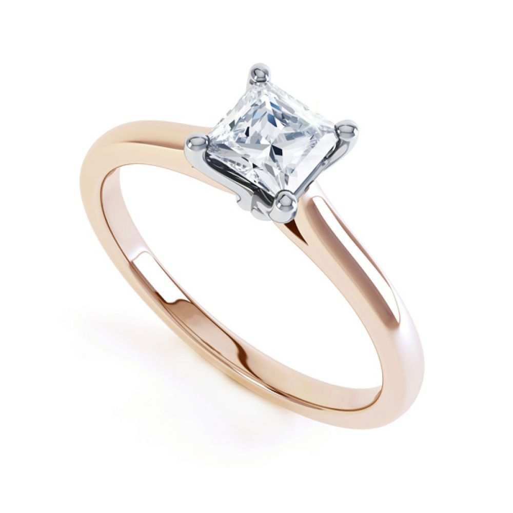 Slim Shoulder 4 Claw Princess Diamond Engagement Ring In Rose Gold