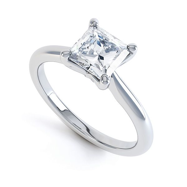 Simple 4 Capped Claw Princess Diamond Ring Main Image