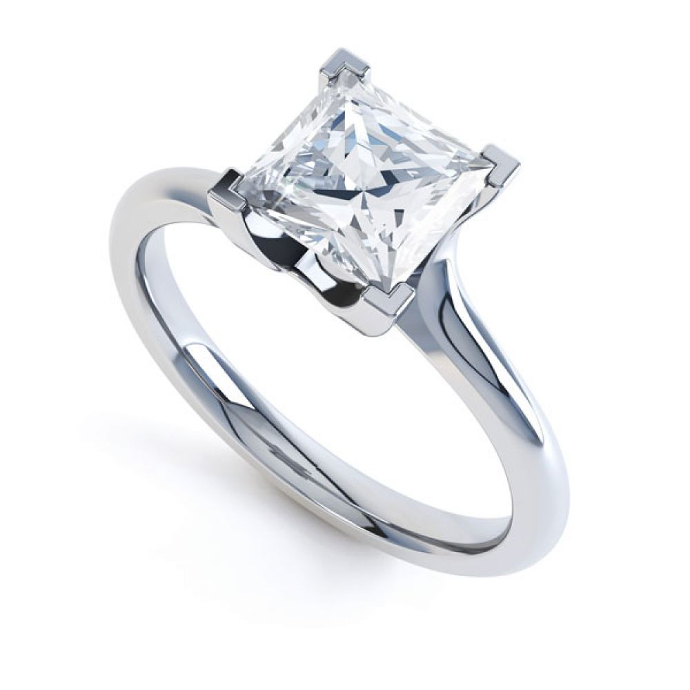 Square Princess 4 Claw Twist Engagement Ring
