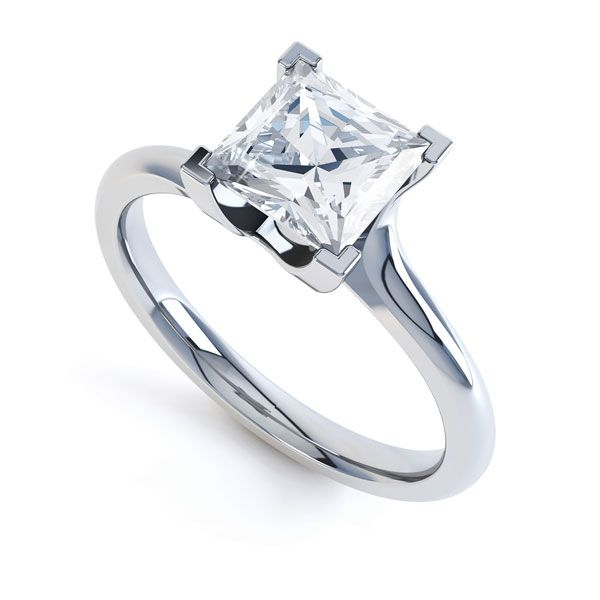 Square Princess 4 Claw Twist Engagement Ring Main Image