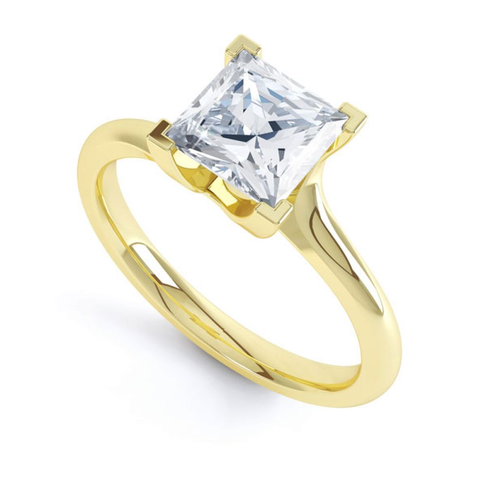 Square Princess 4 Claw Twist Engagement Ring In Yellow Gold