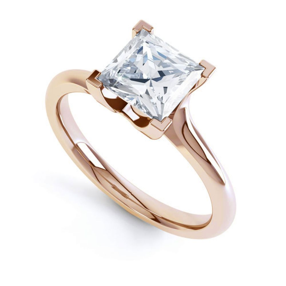 Square Princess 4 Claw Twist Engagement Ring In Rose Gold