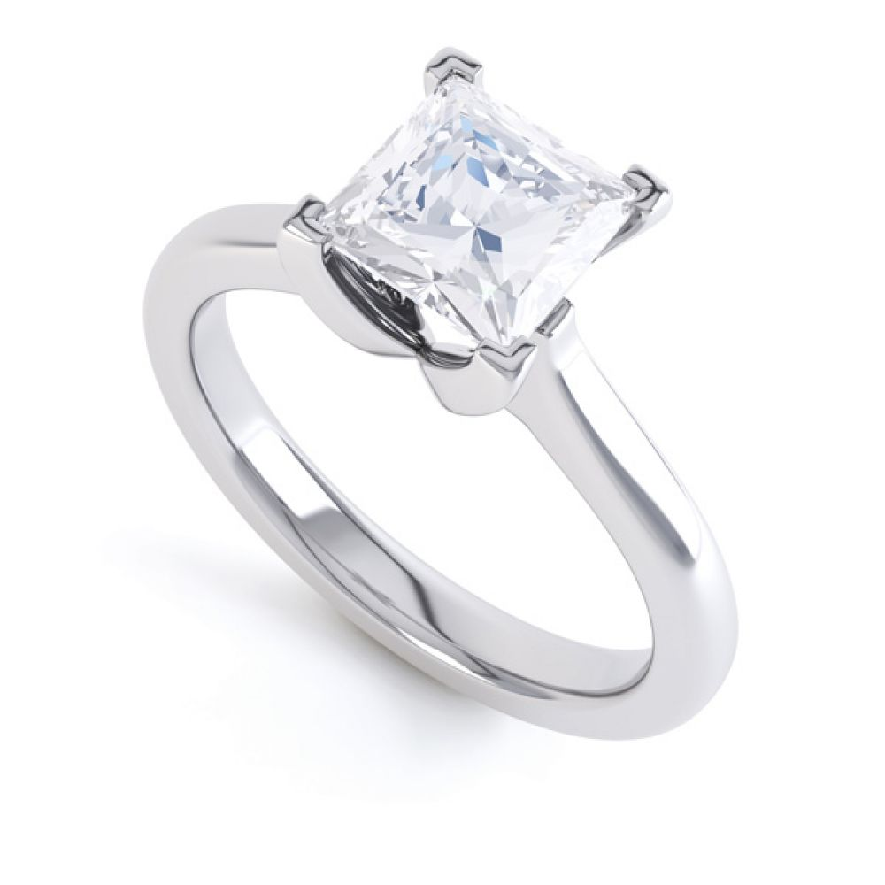 Folded 4 Claw Princess Cut Engagement Ring