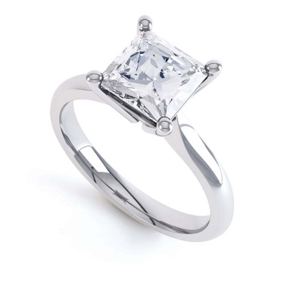 High 4 Prong Princess Cut Diamond Engagement Ring