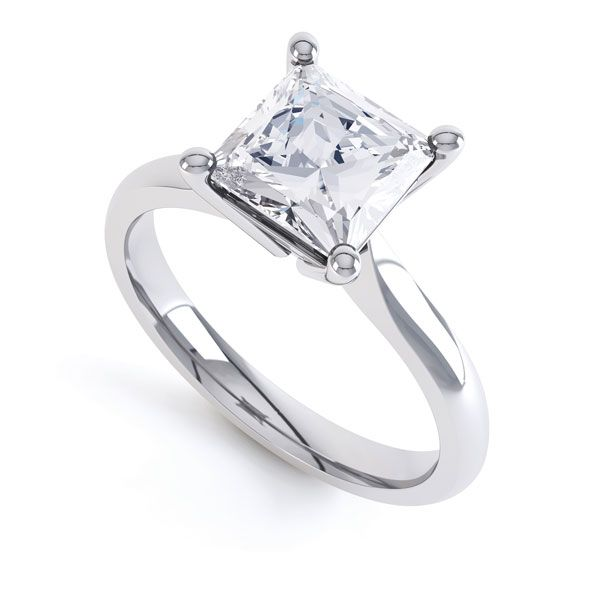 High 4 Prong Princess Cut Diamond Engagement Ring Main Image