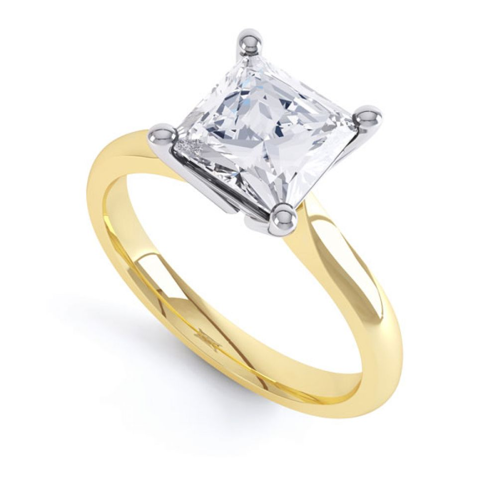 High 4 Prong Princess Cut Diamond Engagement Ring In Yellow Gold