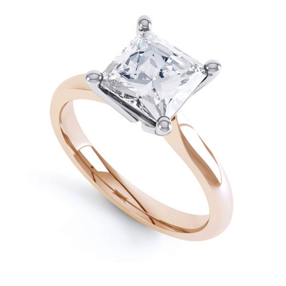 High 4 Prong Princess Cut Diamond Engagement Ring In Rose Gold