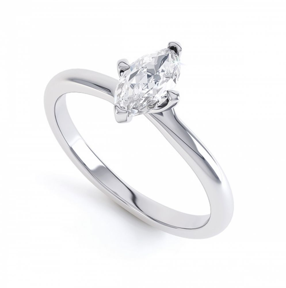 4 Claw Twist Marquise Diamond Engagement Ring