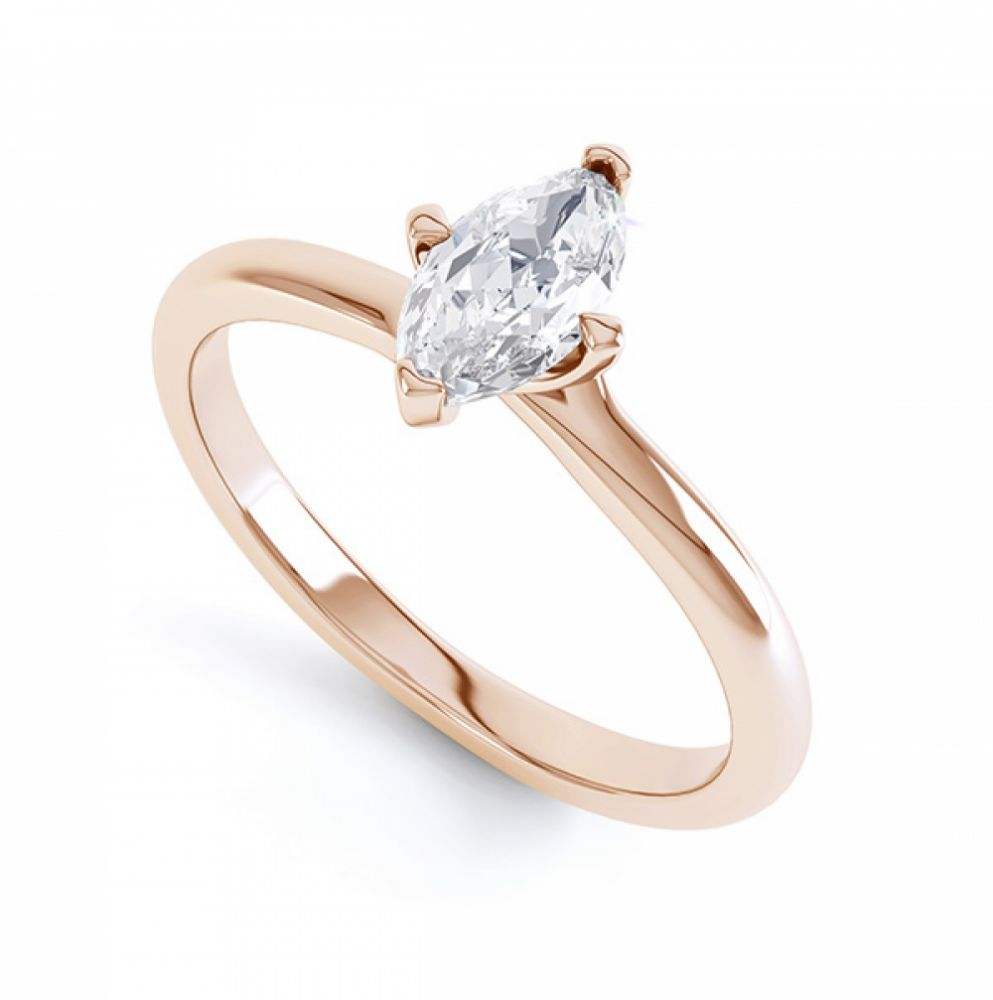 4 Claw Twist Marquise Diamond Engagement Ring Yellow Gold