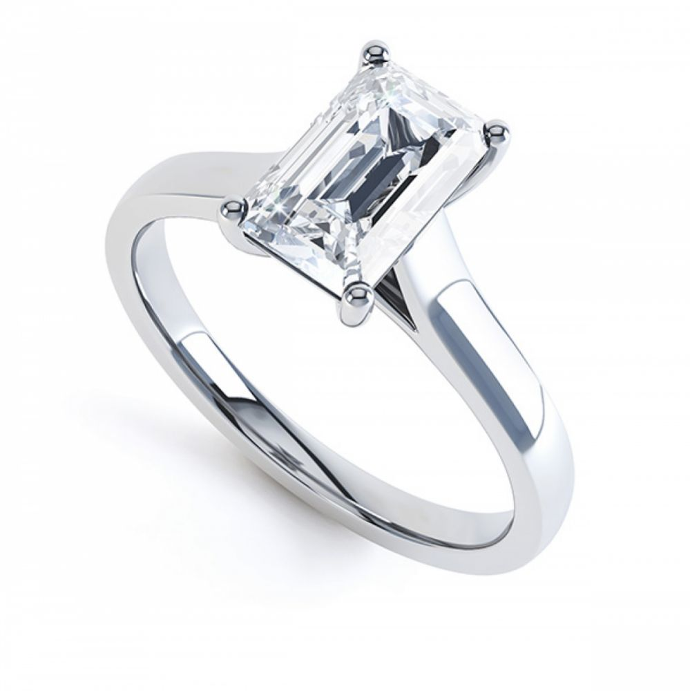 Modern 4 Claw Emerald Cut Diamond Engagement Ring
