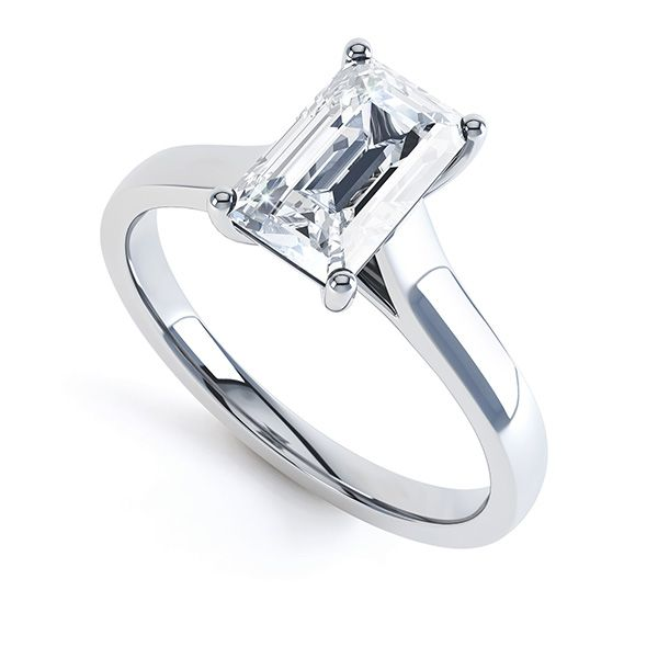Modern 4 Claw Emerald Cut Diamond Engagement Ring Main Image