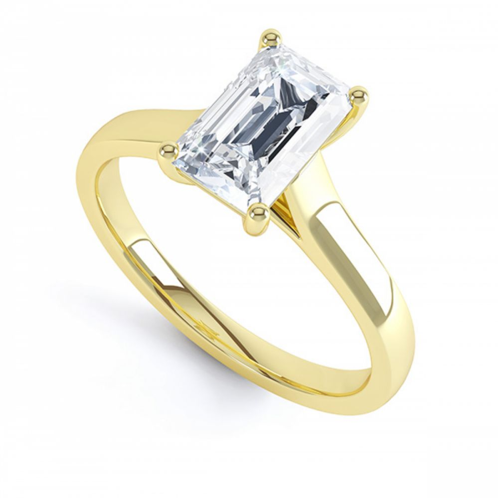 Modern 4 Claw Emerald Cut Diamond Engagement Ring In Yellow Gold