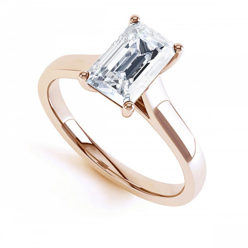 Modern 4 Claw Emerald Cut Diamond Engagement Ring In Rose Gol