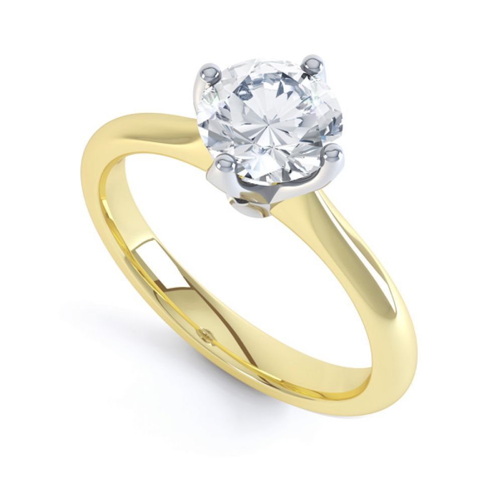 Lotus 4 Claw Compass Set Engagement Ring In Yellow Gold
