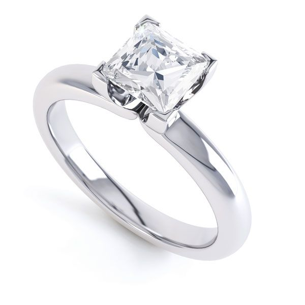 Square Diamond Ring with Box 4 Claw Setting Main Image