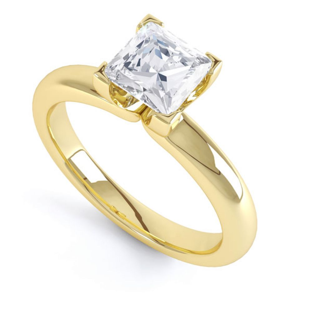 Square Diamond Ring with Box 4 Claw Setting In Yellow Gold