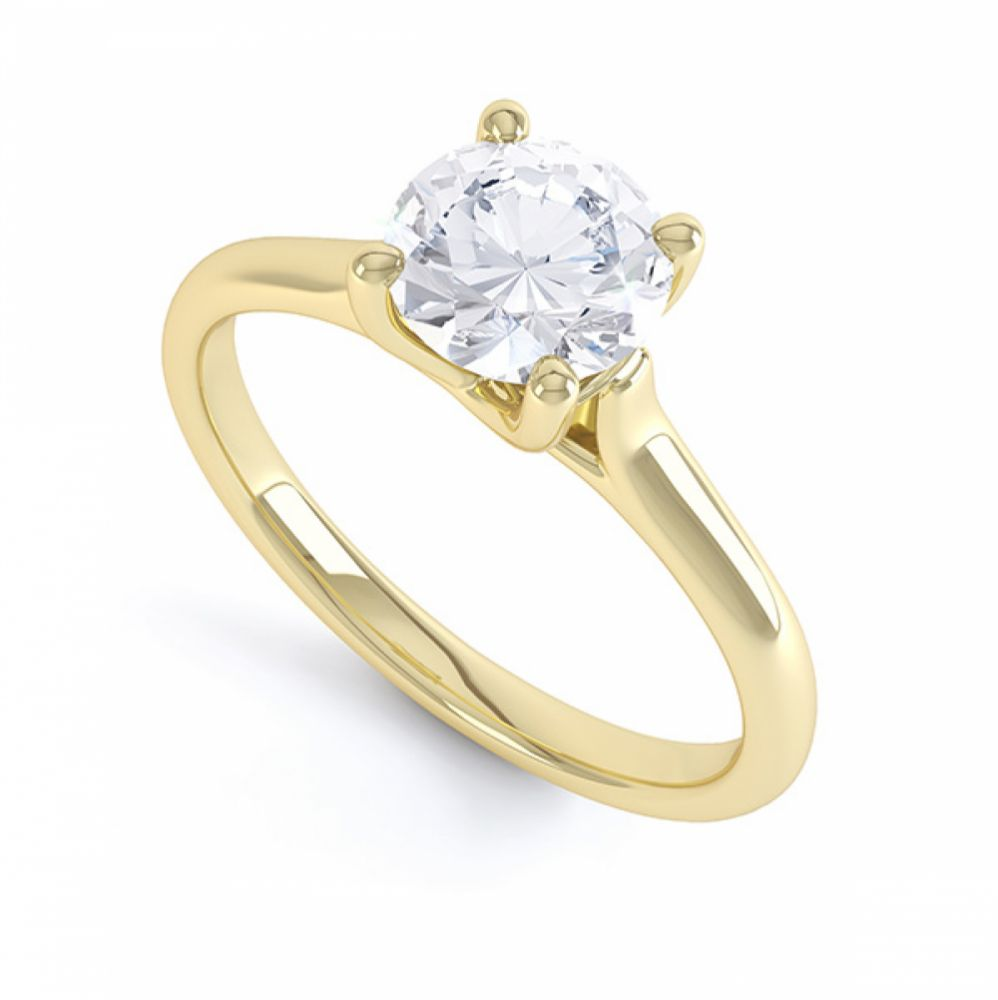 Sirius Round 4 Claw Solitaire Engagement Ring In Yellow Gold