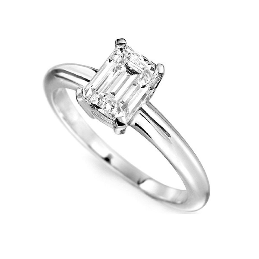 Ultramodern 4 Claw Emerald Diamond Solitaire White Gold Ring