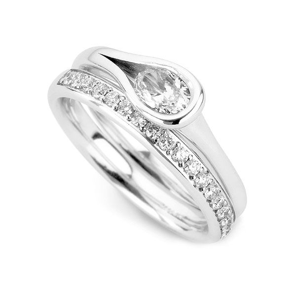 Loop Bezel Set Oval Diamond Engagement Ring Main Image