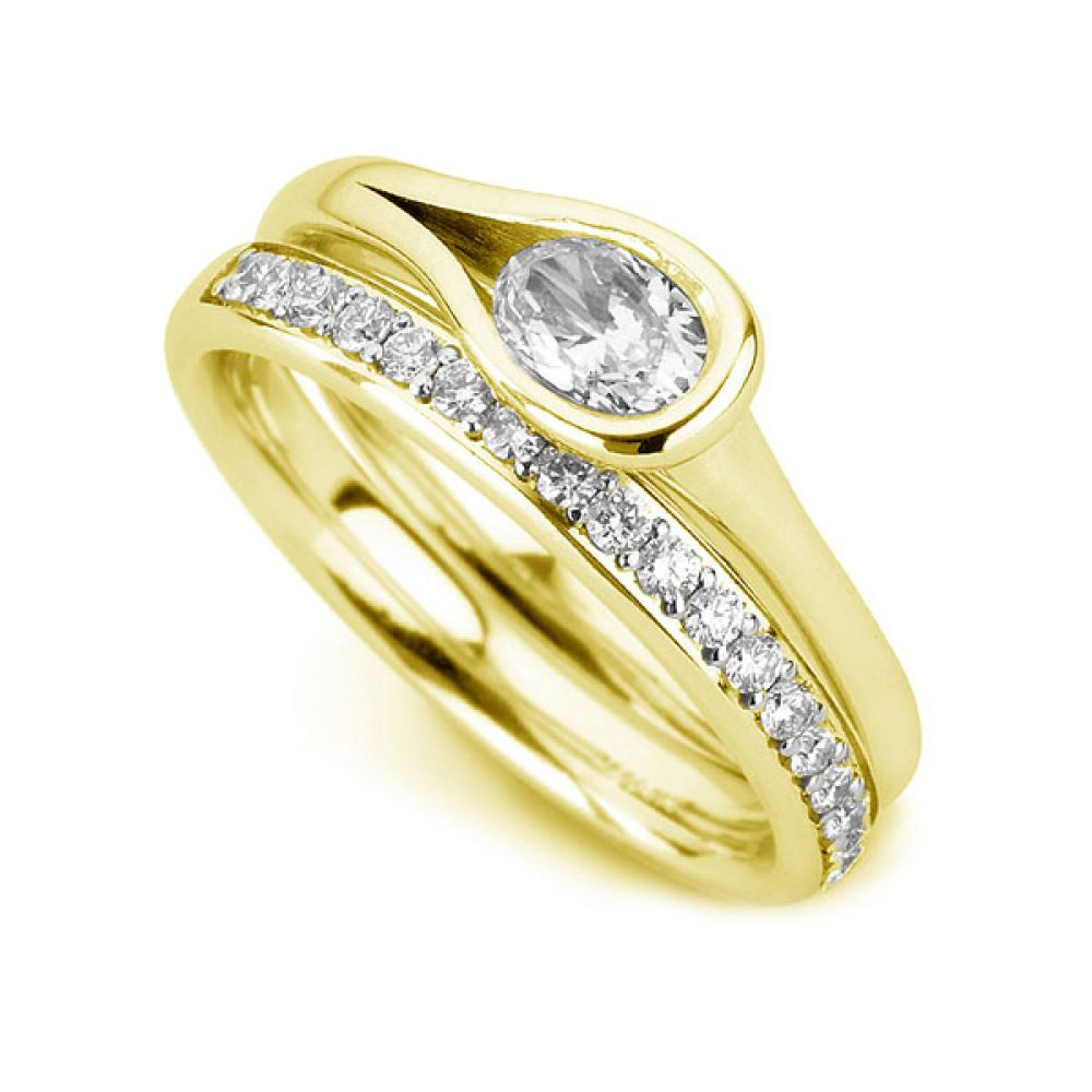 Loop Bezel Set Oval Diamond Engagement Ring In Yellow Gold
