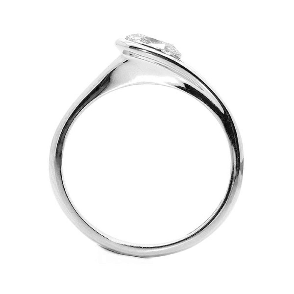 Loop Bezel Set Oval Diamond Engagement Ring Side View