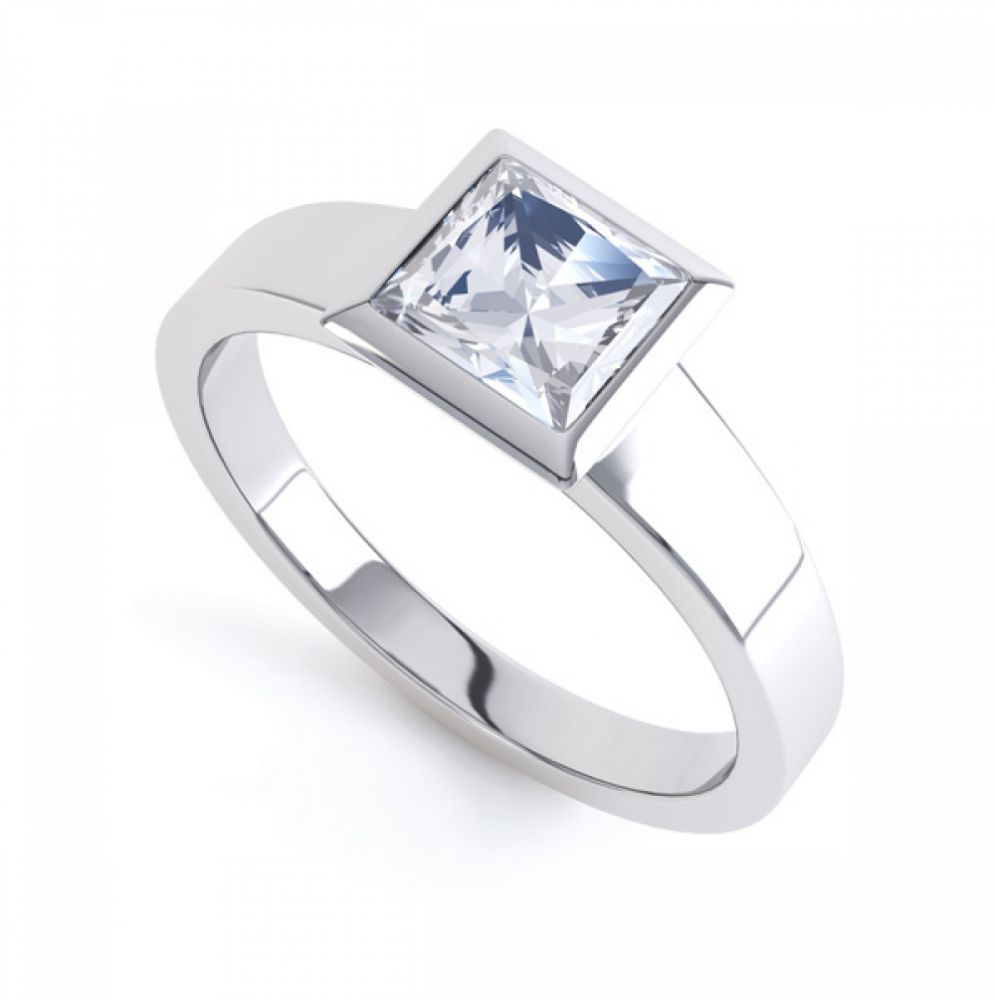 Ultramodern Fully Bezel Set Princess Diamond Ring White Gold, Perspective