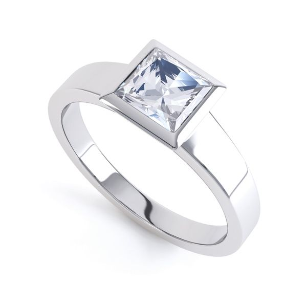 Ultramodern Fully Bezel Set Princess Diamond Ring Main Image