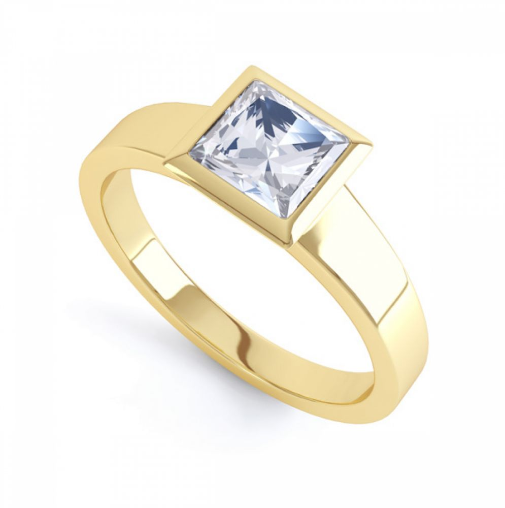 Ultramodern Fully Bezel Set Princess Diamond Ring Yellow Gold, Perspective
