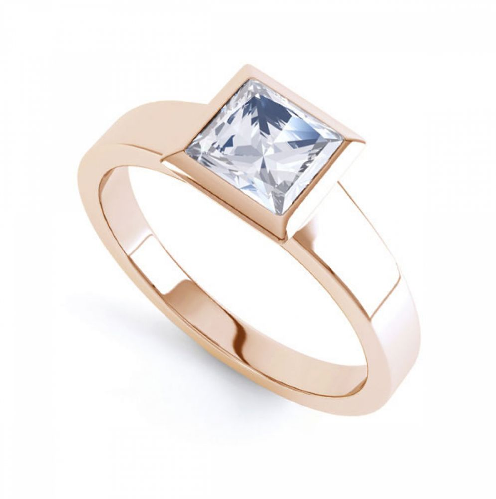 Ultramodern Fully Bezel Set Princess Diamond Ring Rose Gold, Perspective