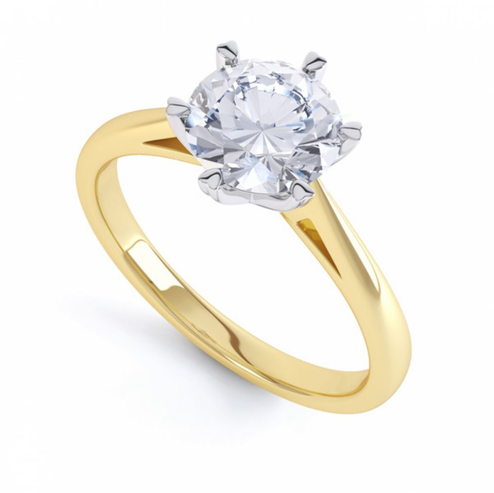 Round Solitaire with 6 Heart Shaped Claw Setting In Yellow Gold