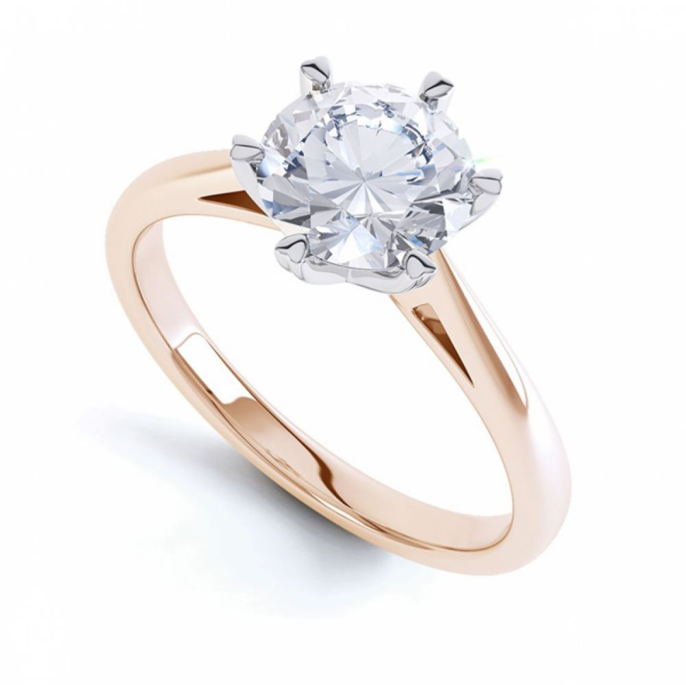 Round Solitaire with 6 Heart Shaped Claw Setting In Rose Gold